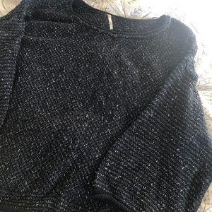 Free People Navy Wide Sleeve Sweater